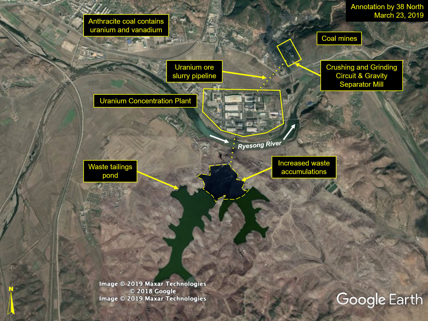 Figure 1. Overview of the Pyongsan uranium mines and collocated concentration plant, as well as the growing accumulation of waste in the tailings pond providing clear evidence of continues operations at the plant.